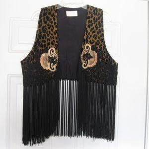 Cache Embroidered Animal Print Long Fringe Vest